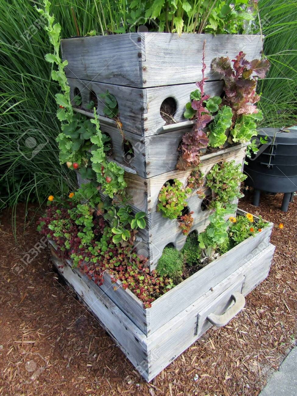 Compost Worm Bin And Grow Box Garden Planter Made Out Of Old
