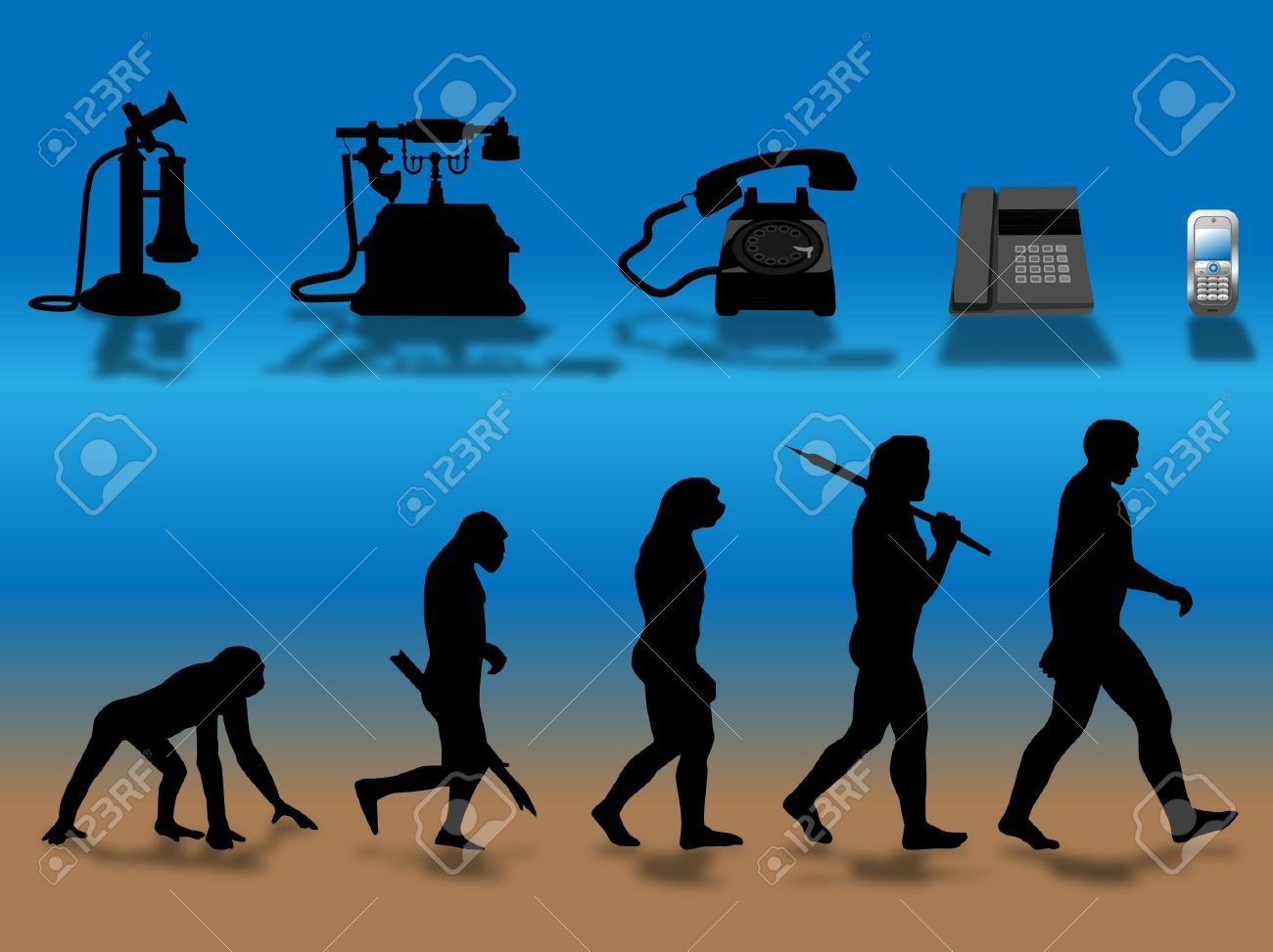 comparing human and phone evolution Stock Photo - 6254543