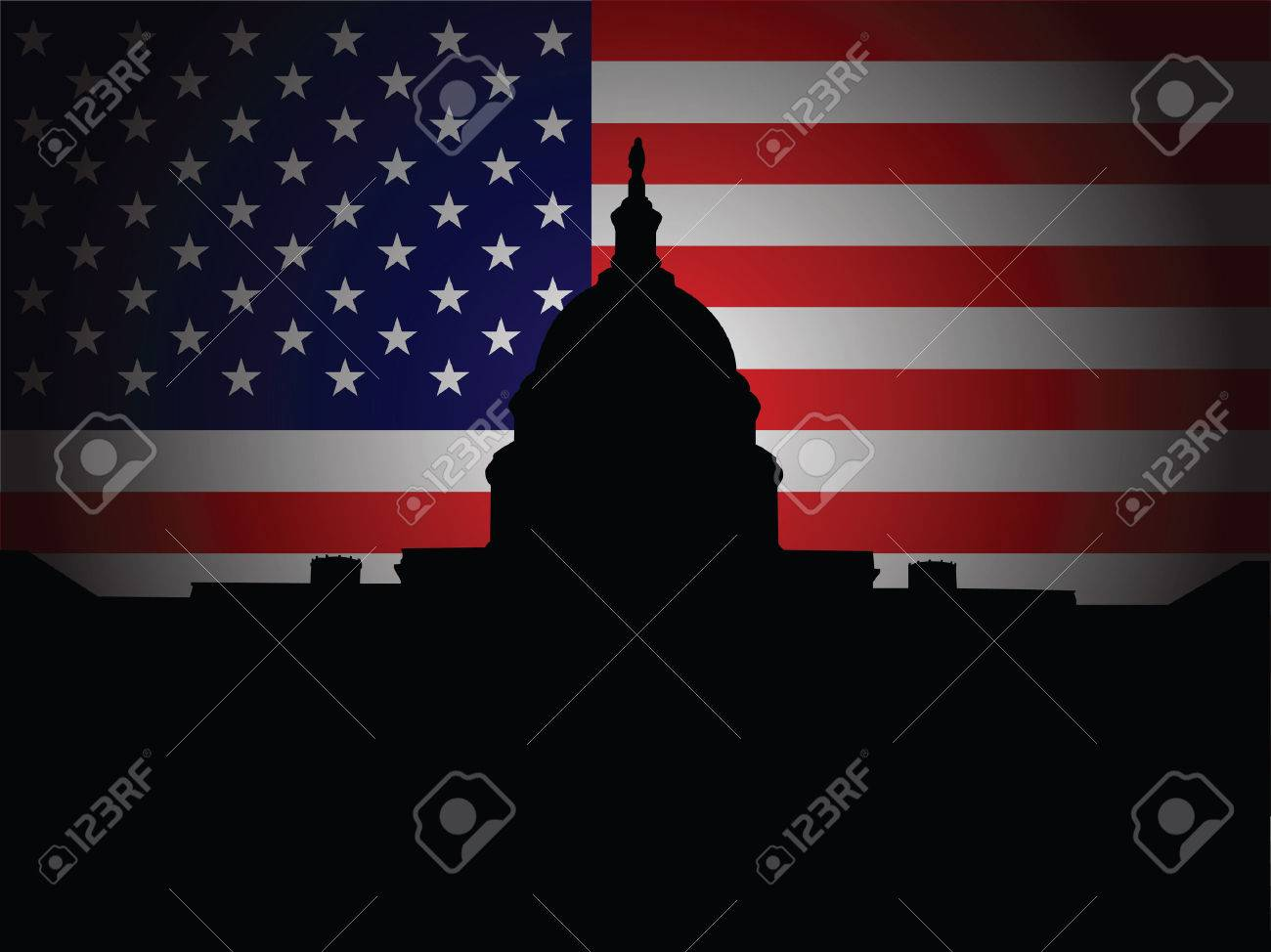 Capitol Hill silhouette with American flag in the background Stock Vector - 6254702