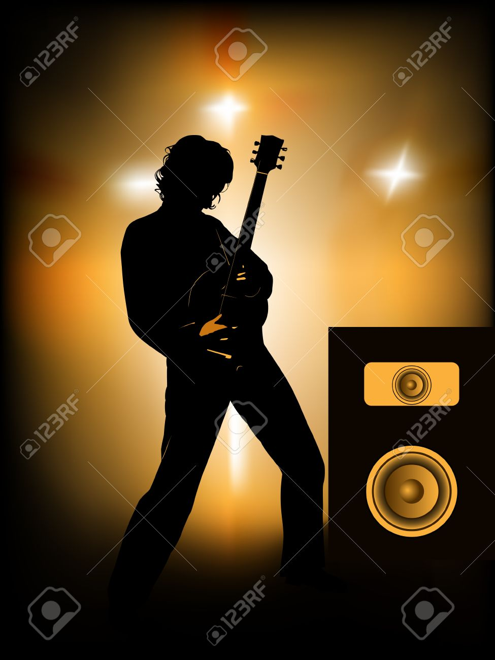 silhouette of guitar player on stage Stock Vector - 6289058