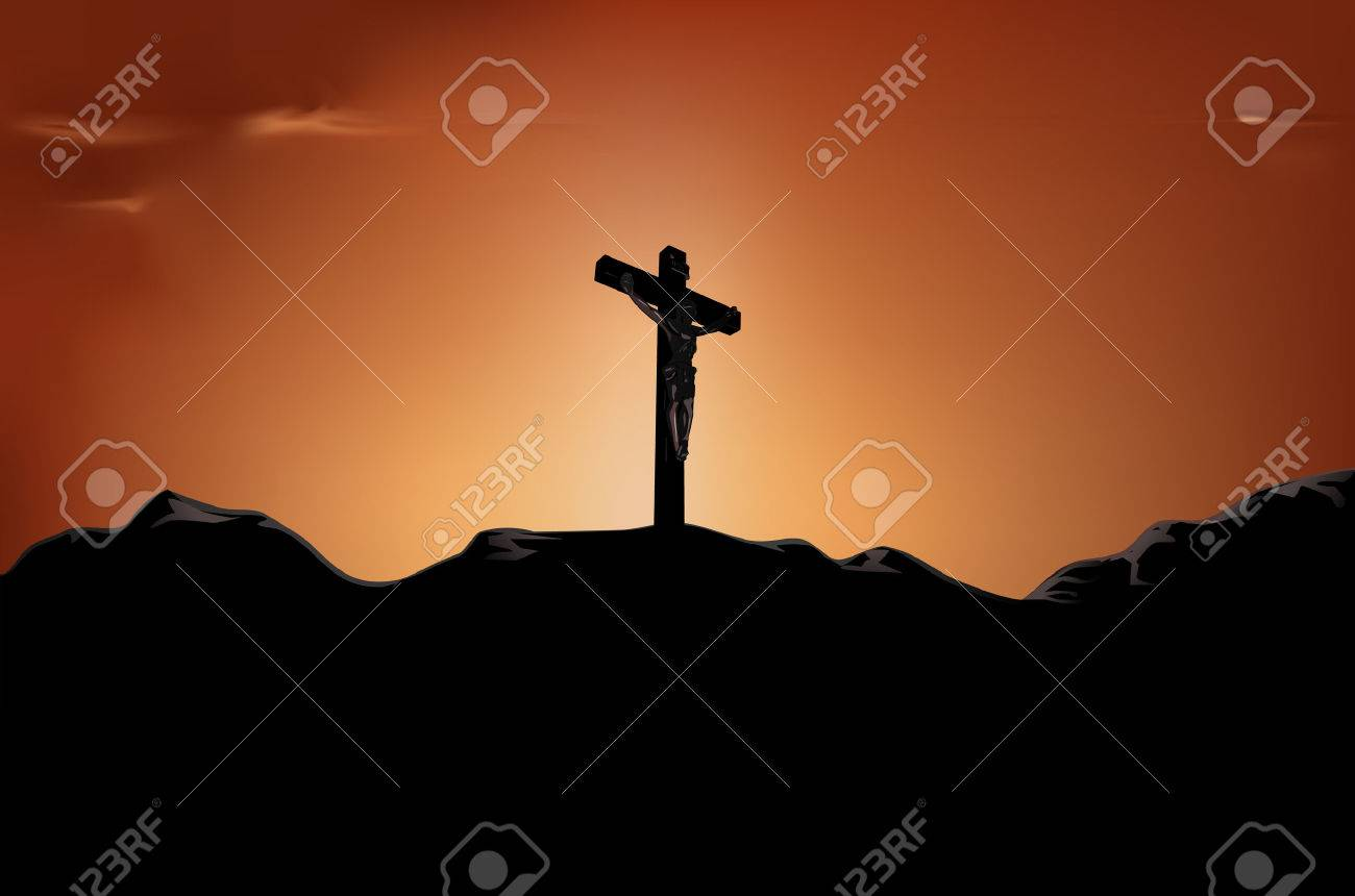 crucified Jesus on cross in the sunset Stock Vector - 6556479