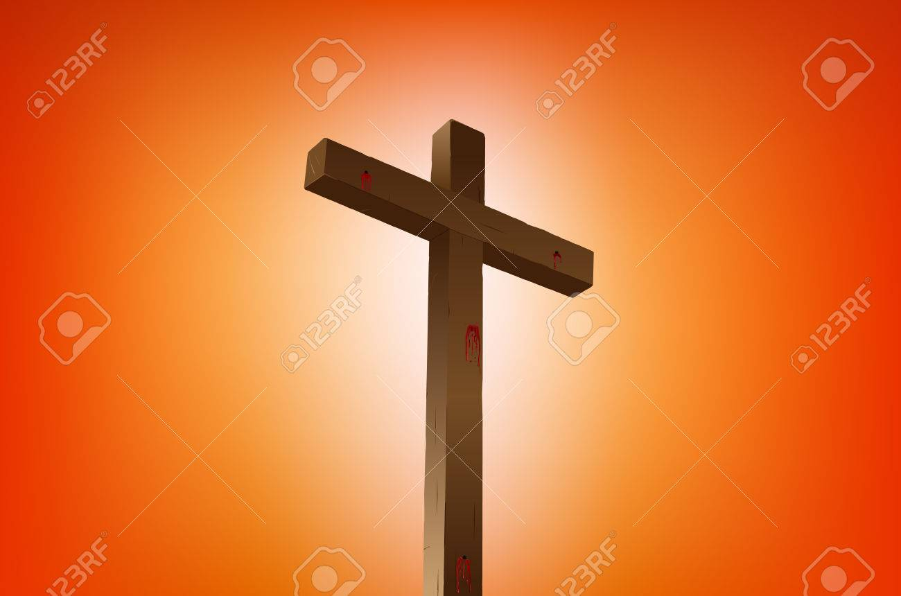 empty cross with blood stains illustration Stock Vector - 6680178