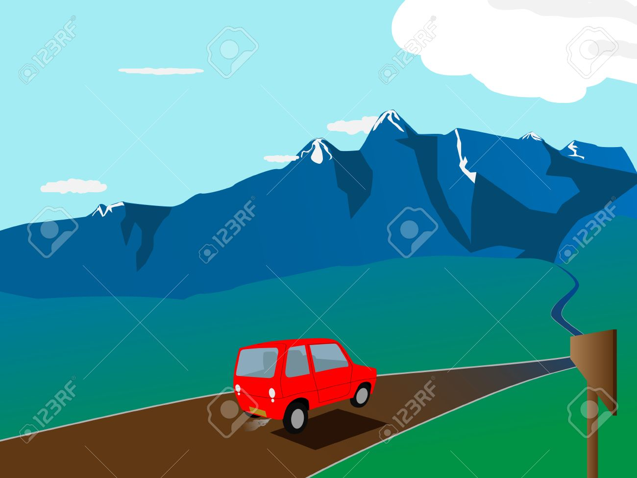 vector cartoon red car on the road Stock Vector - 6793425