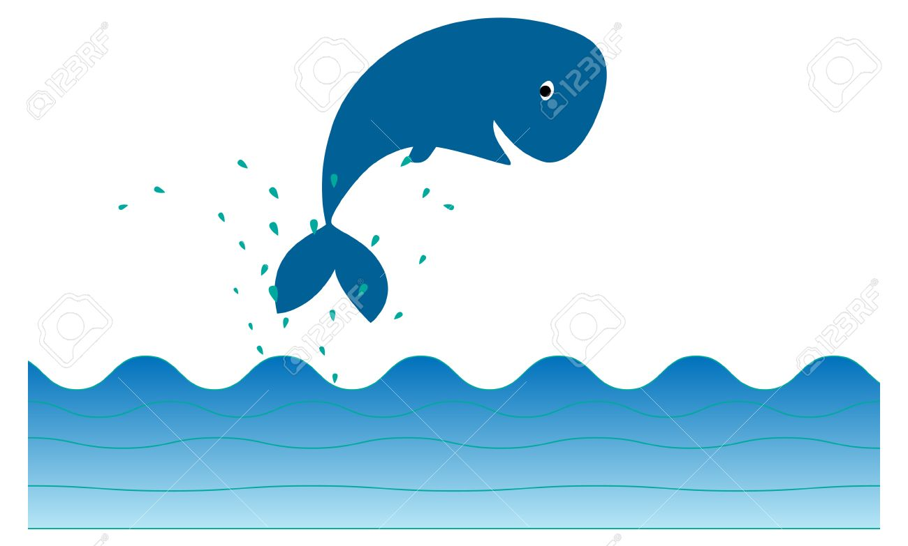 Cute whale in water cartoon isolated illustration stock photography - Jumping Whale Cute Whale Icon Jumping Out Of Water Illustration