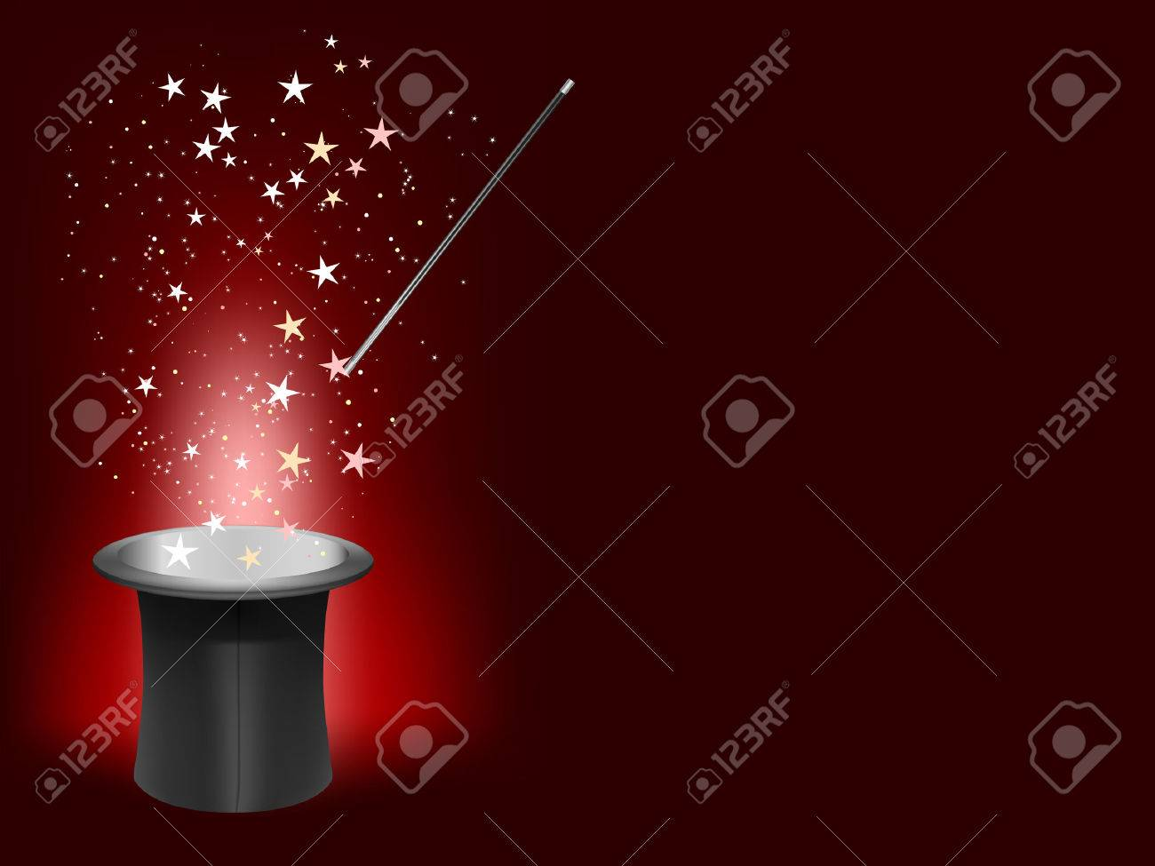 magician hat and wand with place for your text Stock Vector - 8563026