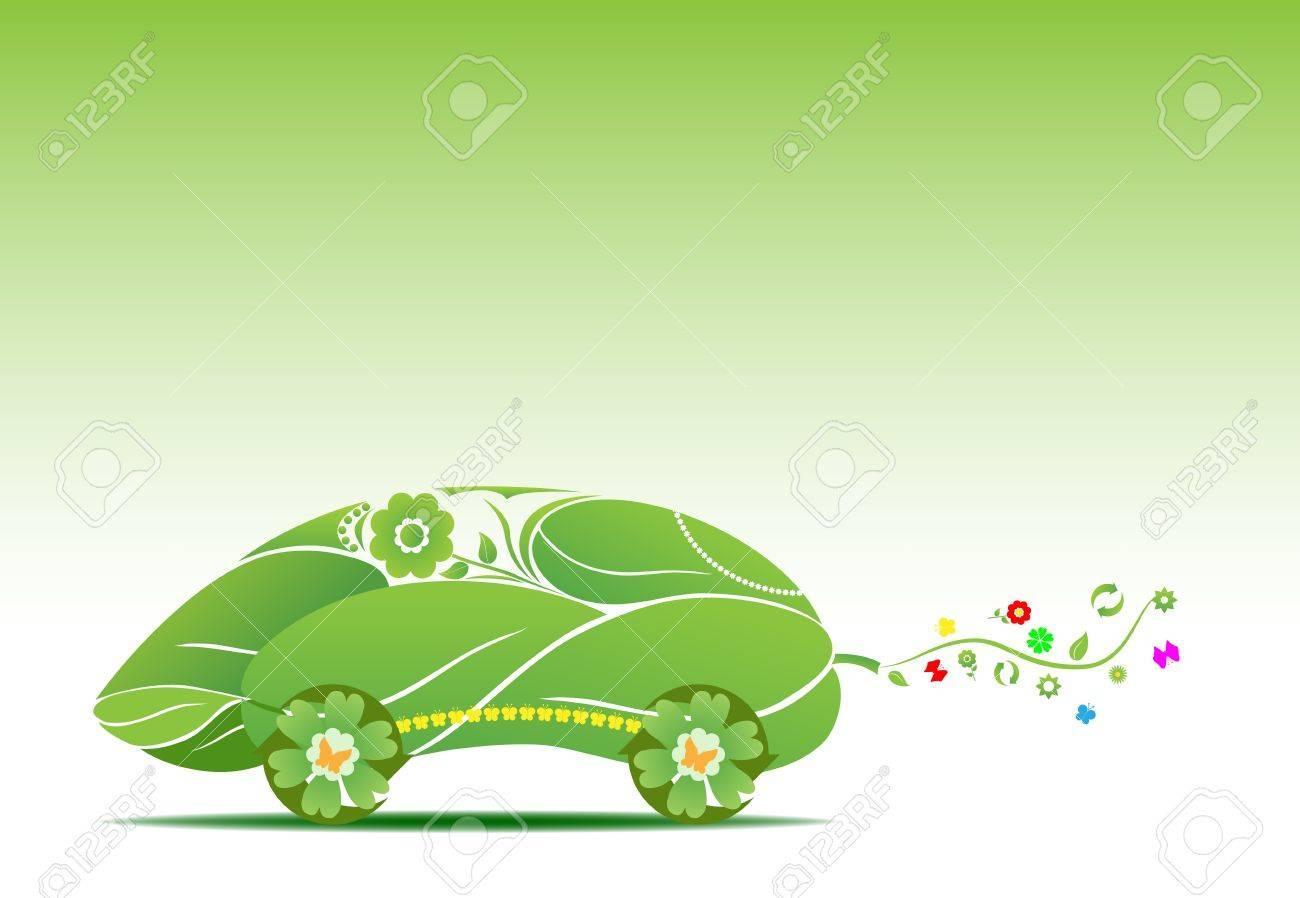 conceptual illustration of futuristic eco car Stock Vector - 9153307