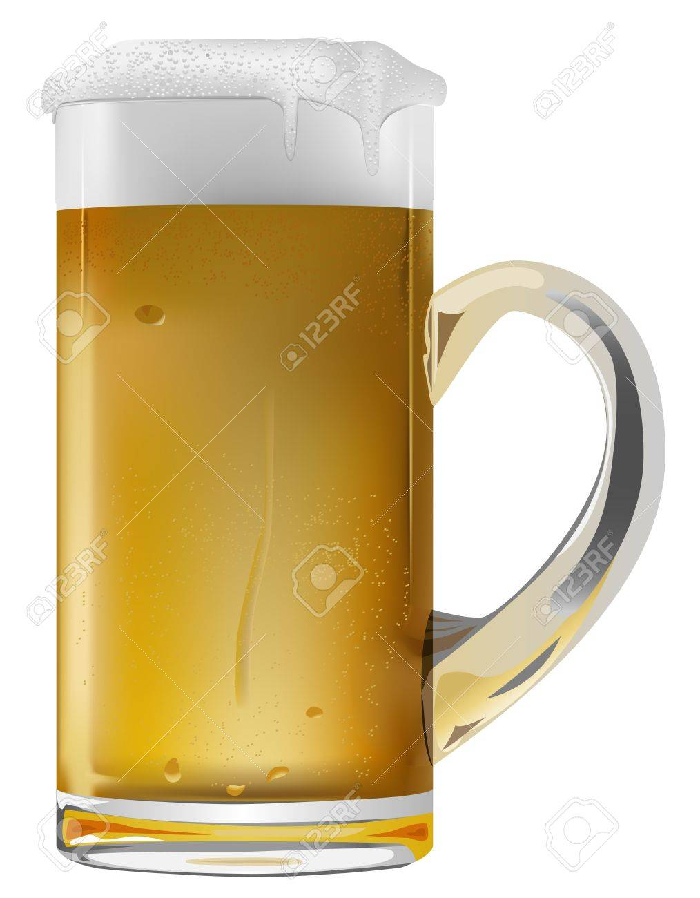 realistic beer mug on white background Stock Vector - 9635789