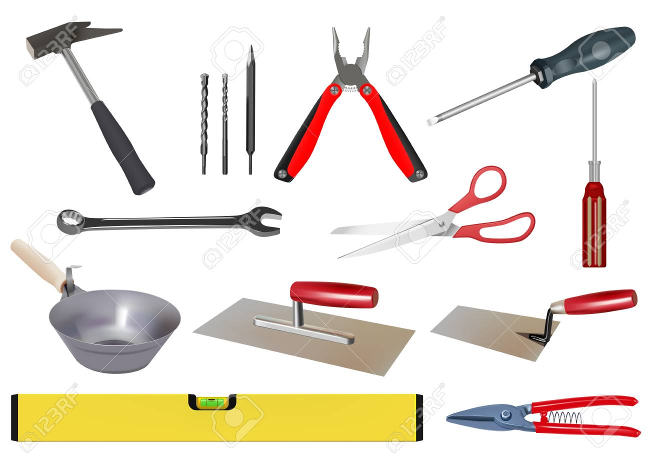 vector realistic various tool set on white background Stock Vector - 9933150