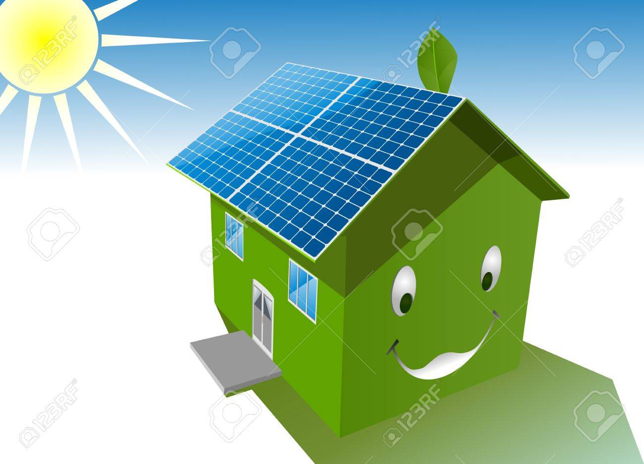 vector happy green house with solar system roof Stock Vector - 11531599