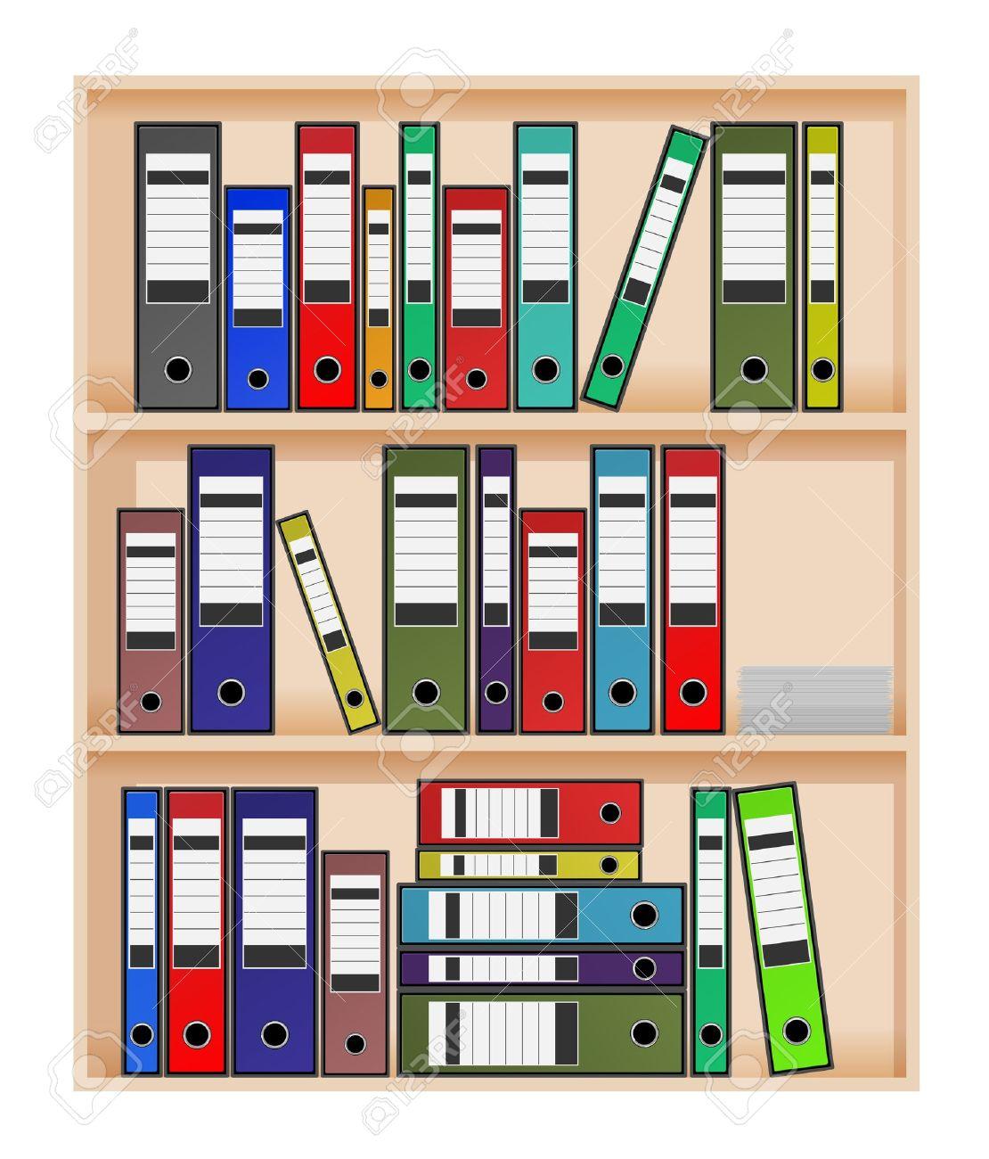 Ring Binders In Office Shelf Stock Vector   13050909