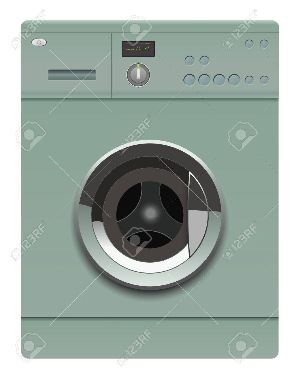 realistic washing machine on white background Stock Vector - 14723439