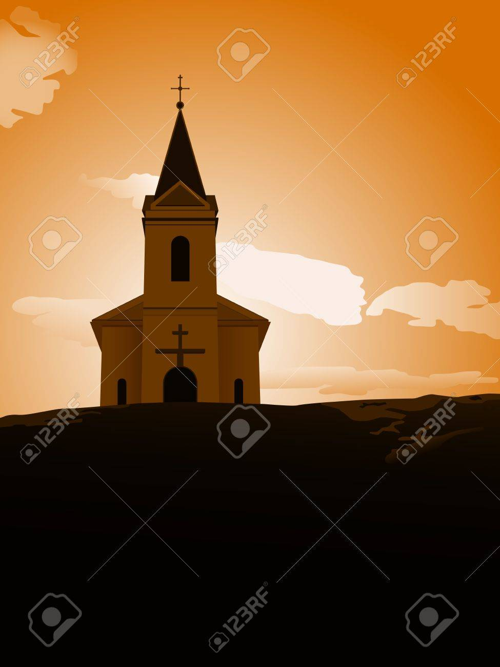 vector illustration of chapel on the hill in the sunset Stock Vector - 16847240