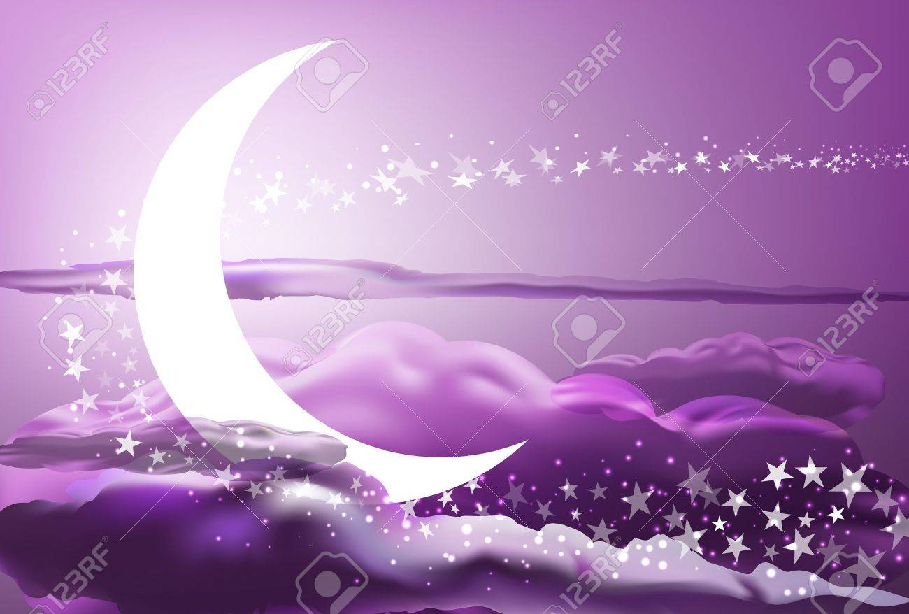 vector romantic scene with moon, stars and pink clouds, eps 10 file, gradient mesh and transparency used Stock Vector - 17124011