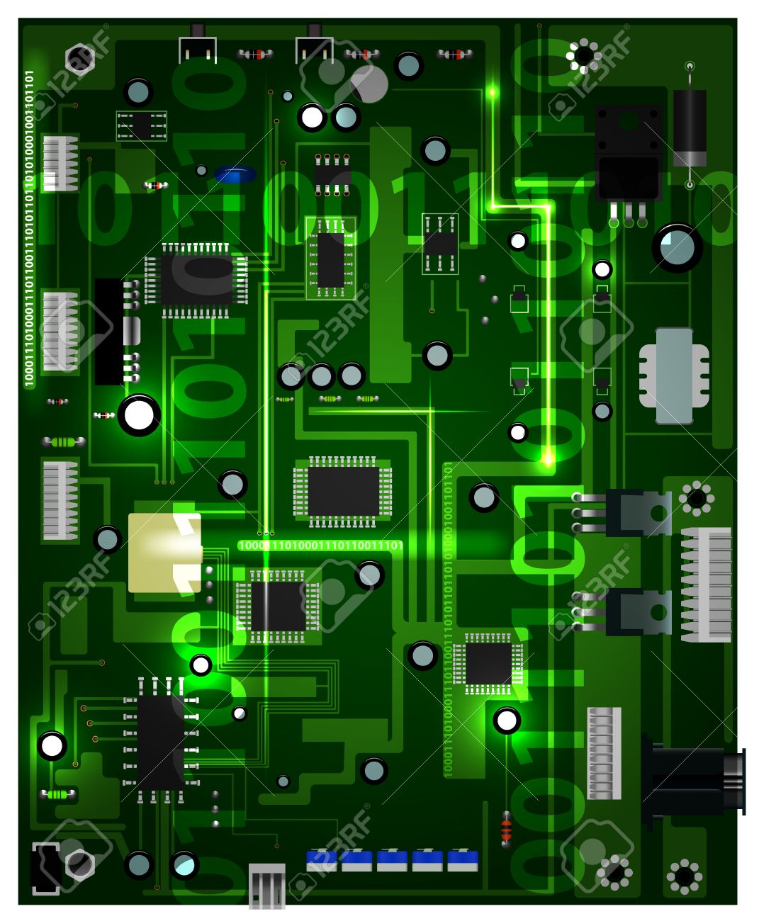 computer processor board on white background, gradient mesh and transparency used Stock Vector - 19508278