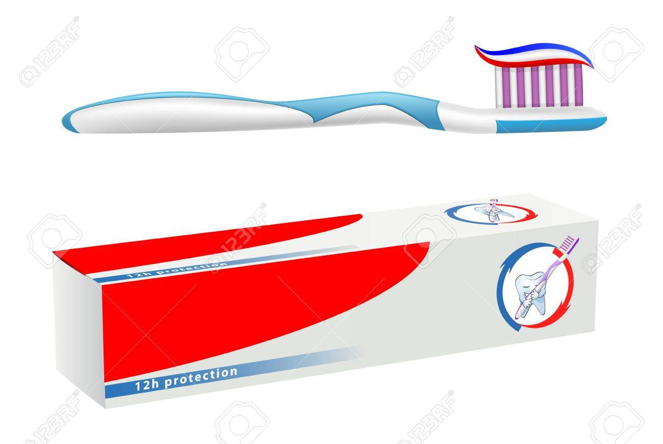 Vector Toothbrush And Toothpaste On White Background Gradient Royalty Free Cliparts Vectors And Stock Illustration Image 21072312