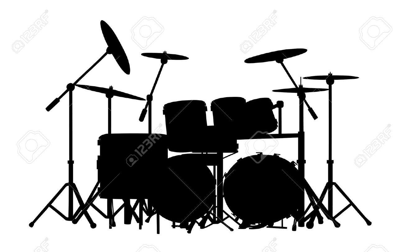 drum kit silhouette on white White Drum Set Silhouette