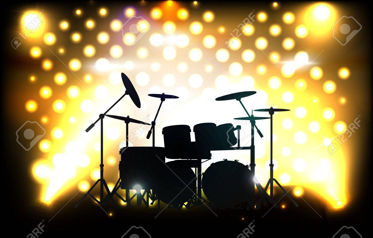 Drum Kit On Stage Before Concert Royalty Free Cliparts, Vectors, And ...
