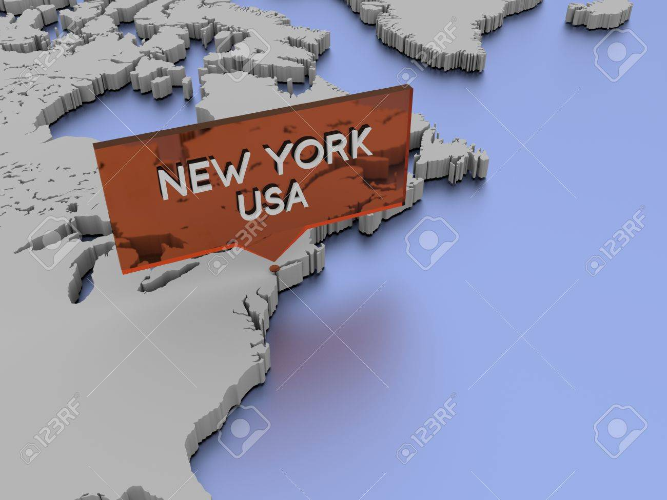 D World Map Illustration New York Stock Photo Picture And - New york map in 3d