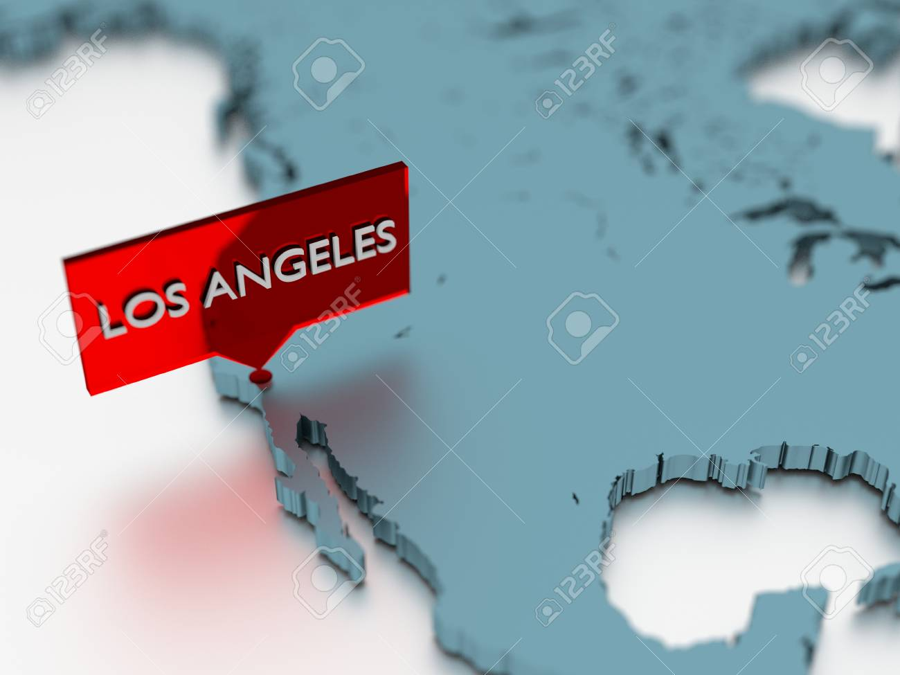 3d World Map Sticker   City Of Los Angeles Stock Photo, Picture