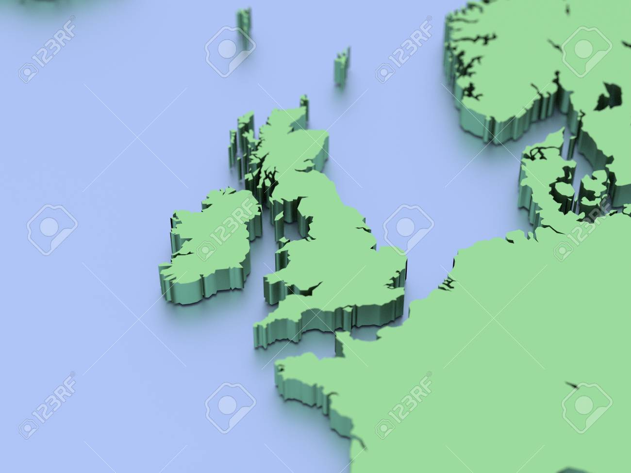 3d Map Of England.A 3d Rendered Map Of England