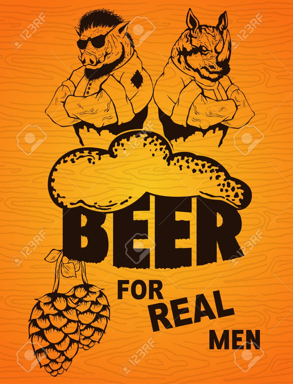 beer for real men poster on a wooden background royalty free