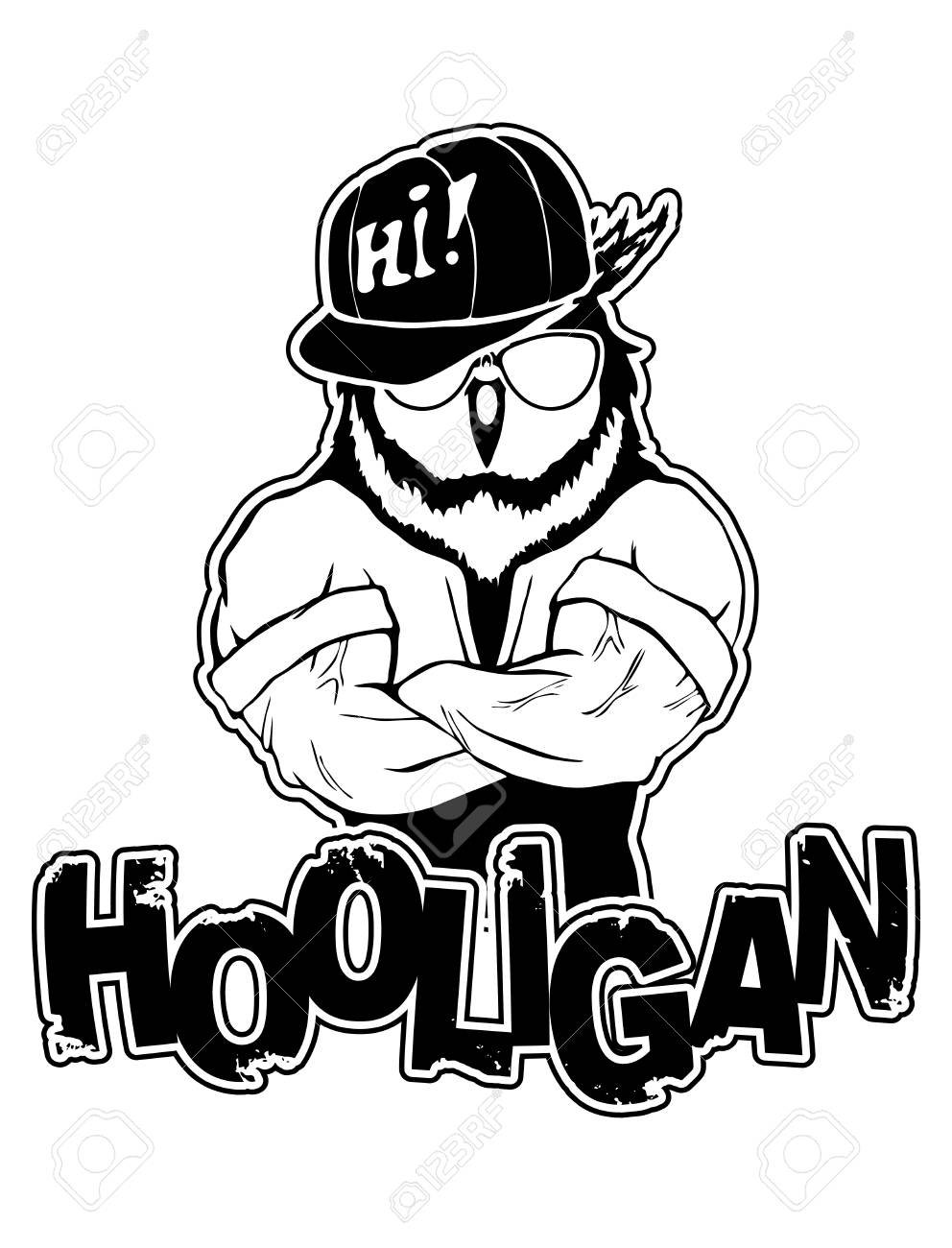 print on t shirt hooligan with a owl image royalty free cliparts