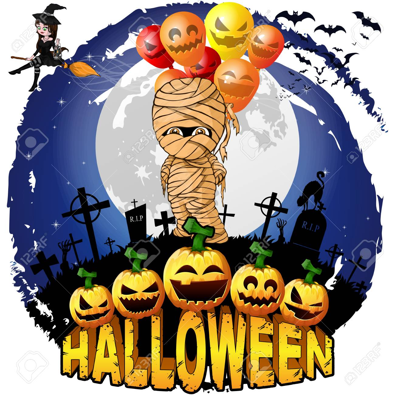 Halloween Design Template With Mummy With Balloons Vector
