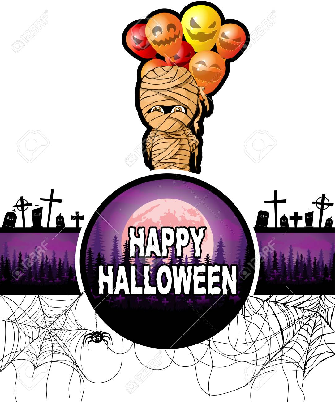 Happy Halloween Design Template With Mummy With Balloons Royalty