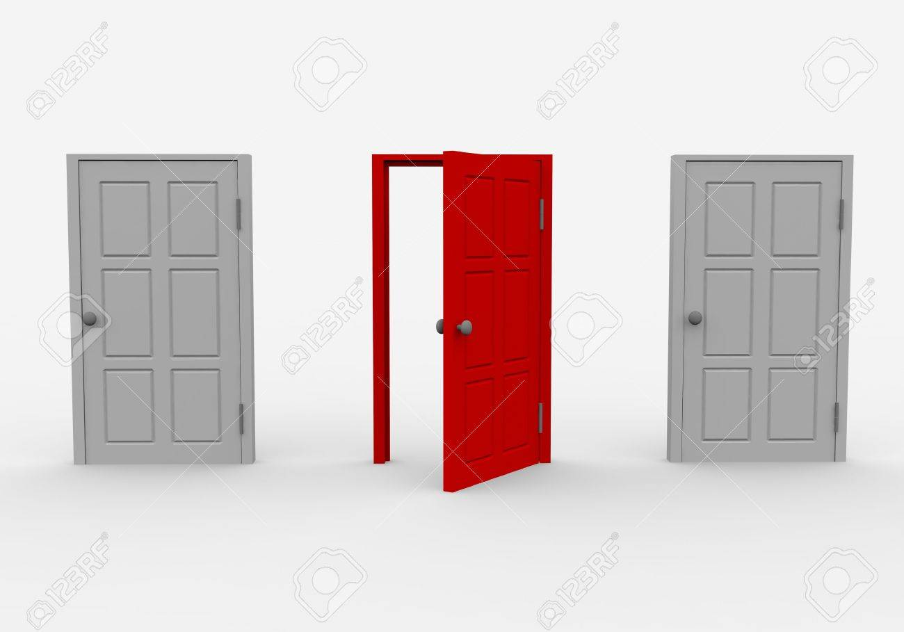 Open door closed door - One Half Open Door And Two Closed 3d Image Stock Photo 9085204