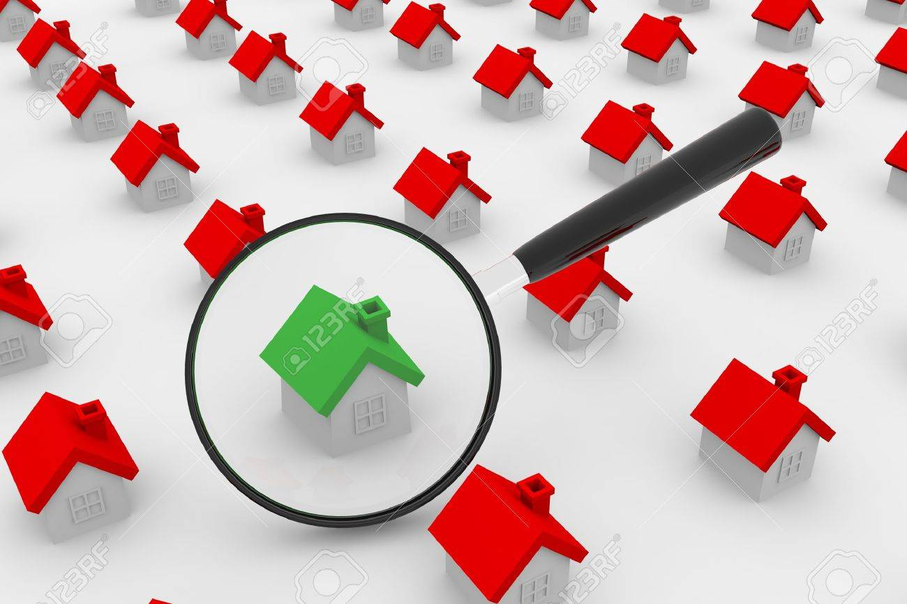 A lot of houses and magnifying glass. Stock Photo - 9176788