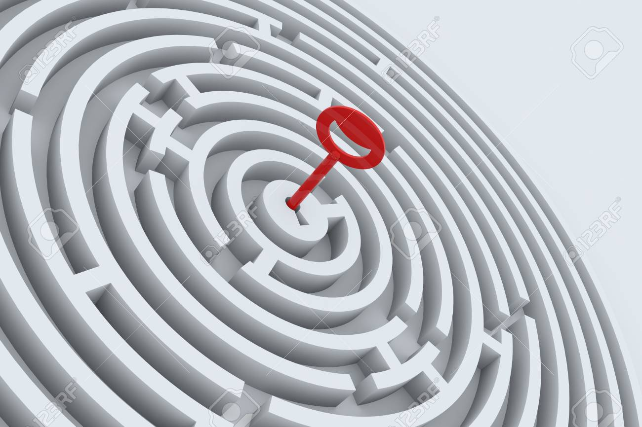 Key for maze in perspective. 3D render image. Stock Photo - 9344122