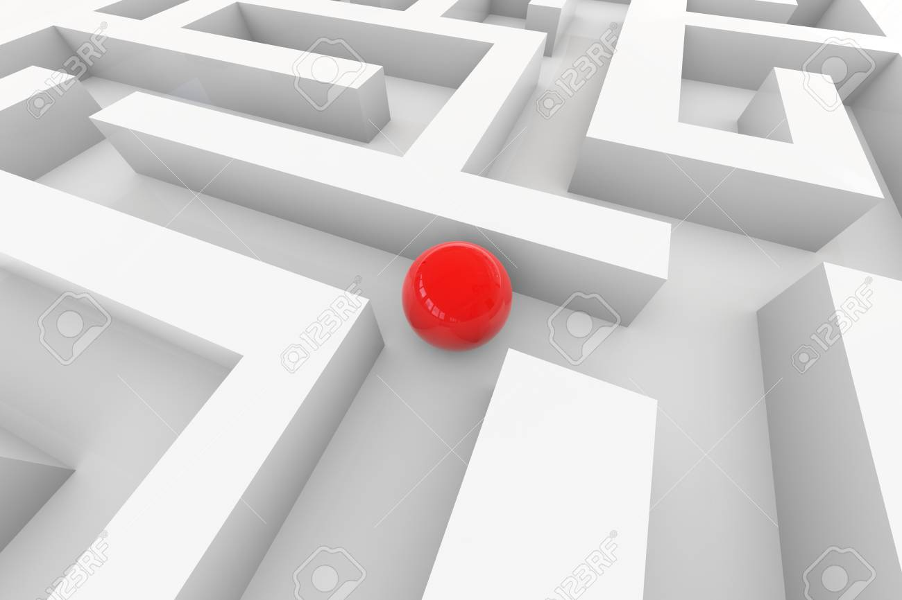 Red sphere in a maze. Computer generated image. Stock Photo - 10493430