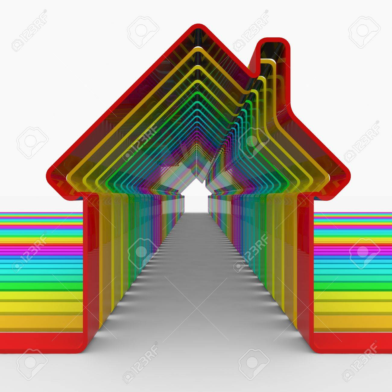 Colorful house shapes. Computer generated image. Stock Photo - 10590602