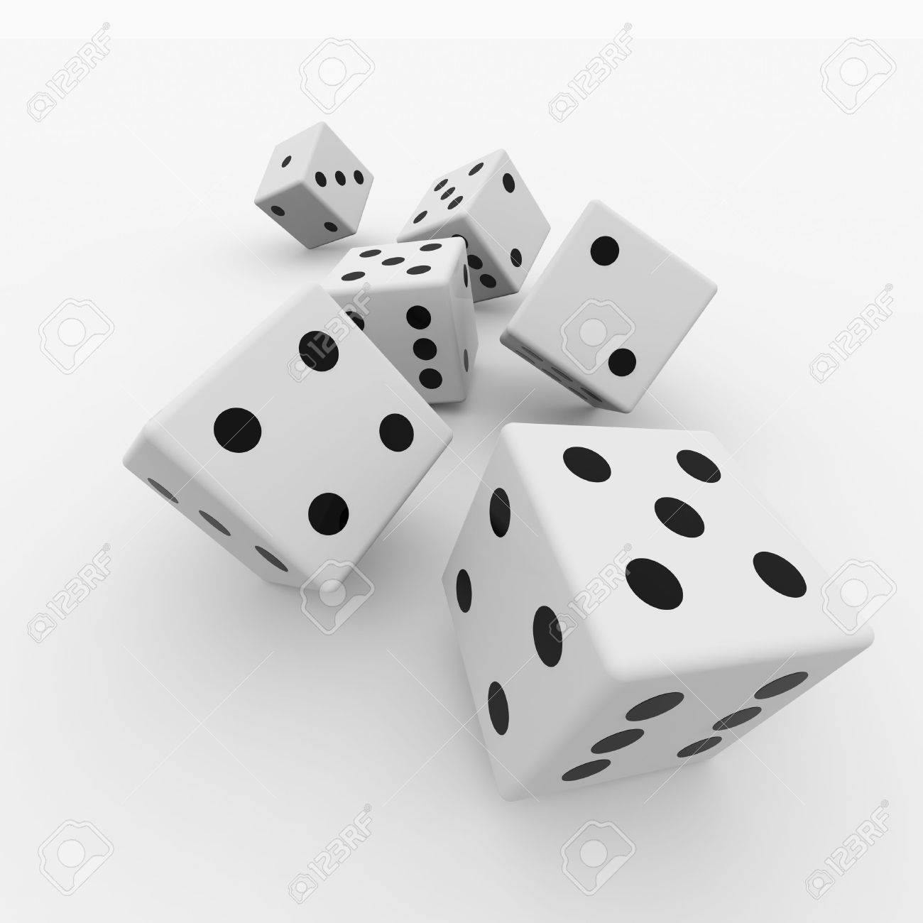 White dices isolated on white. Computer generated image. Stock Photo - 10551933