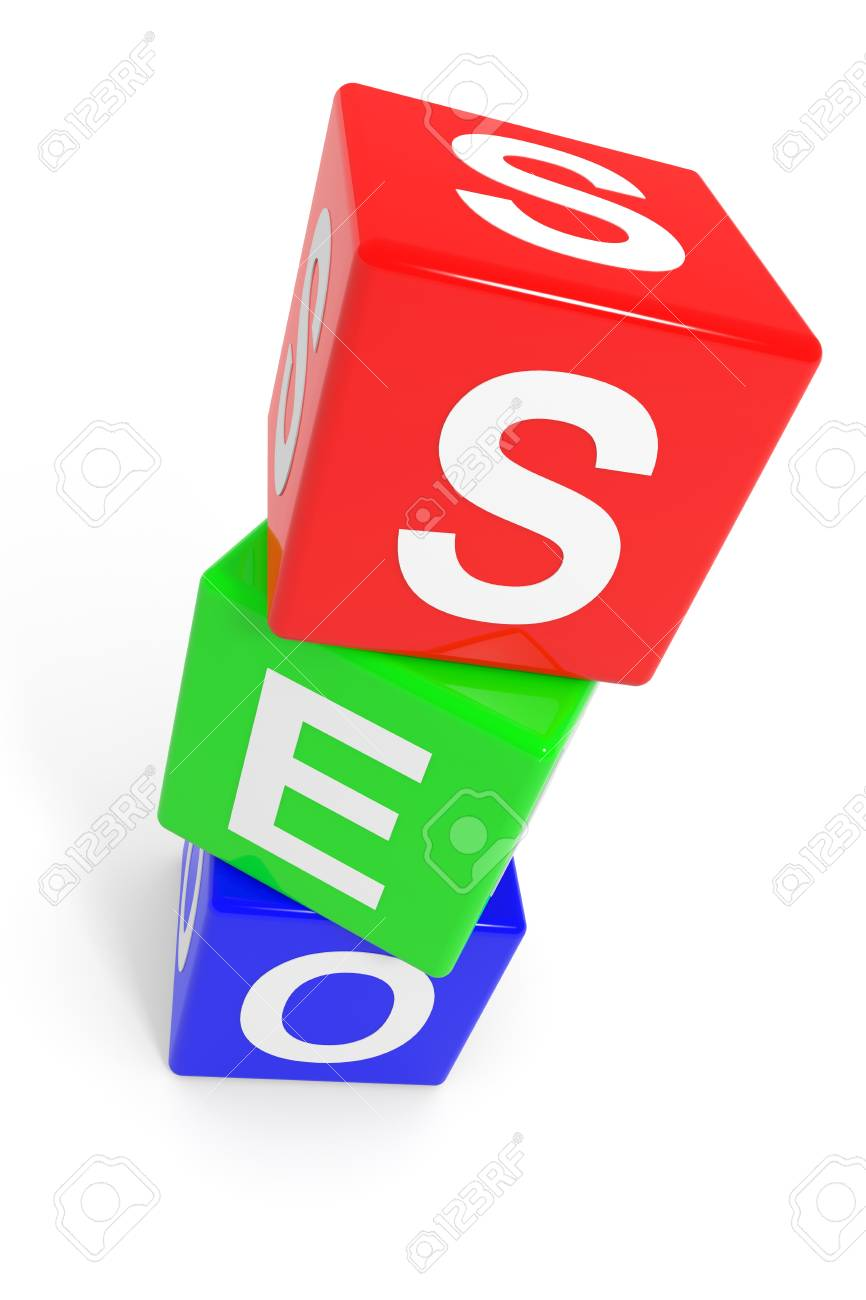Colorful SEO cubes. Computer generated image. Stock Photo - 11818117