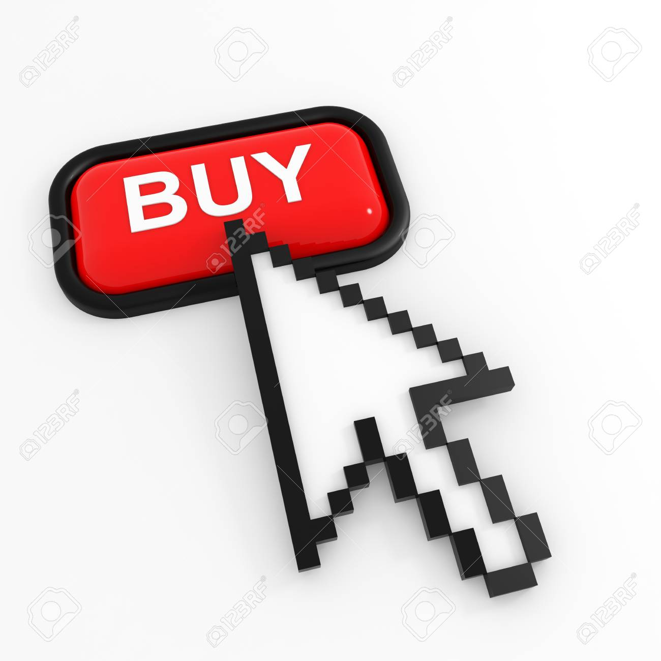 Red button BUY with arrow cursor. Computer generated image. Stock Photo - 11818155