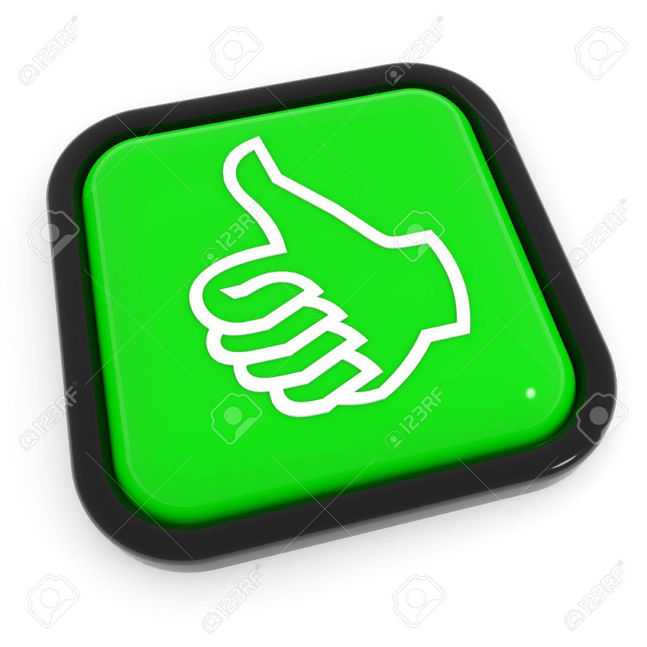Thumbs up gesture green button. Computer generated image. Stock Photo - 11818149