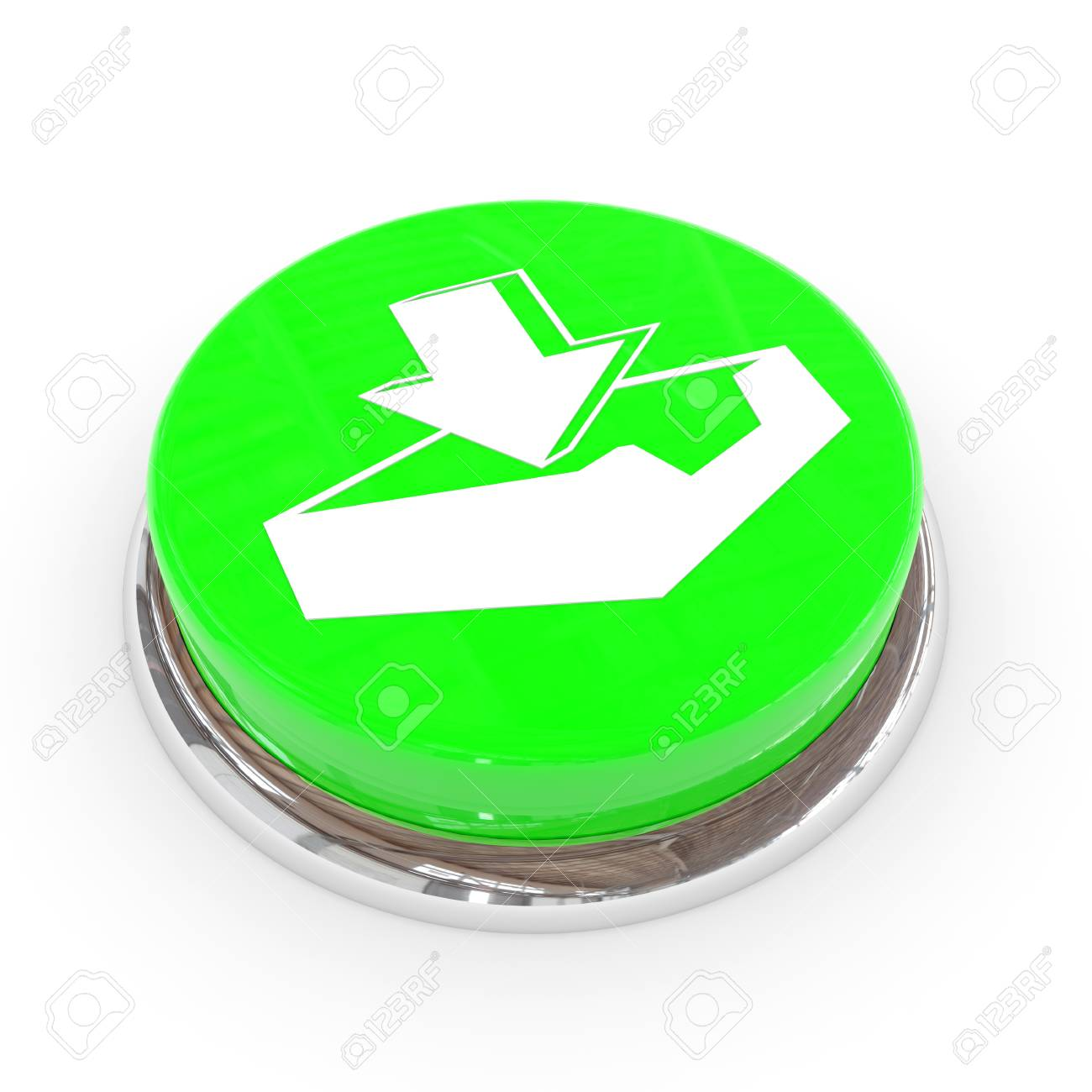 Green round button with download sign. Computer generated image. Stock Photo - 11818150