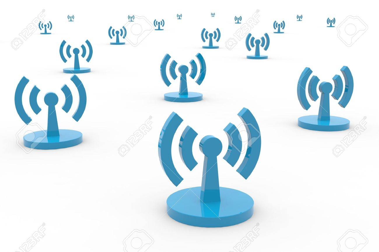 Abstract Wi-fi antenna on white background. Computer generated image. Stock Photo - 11818138