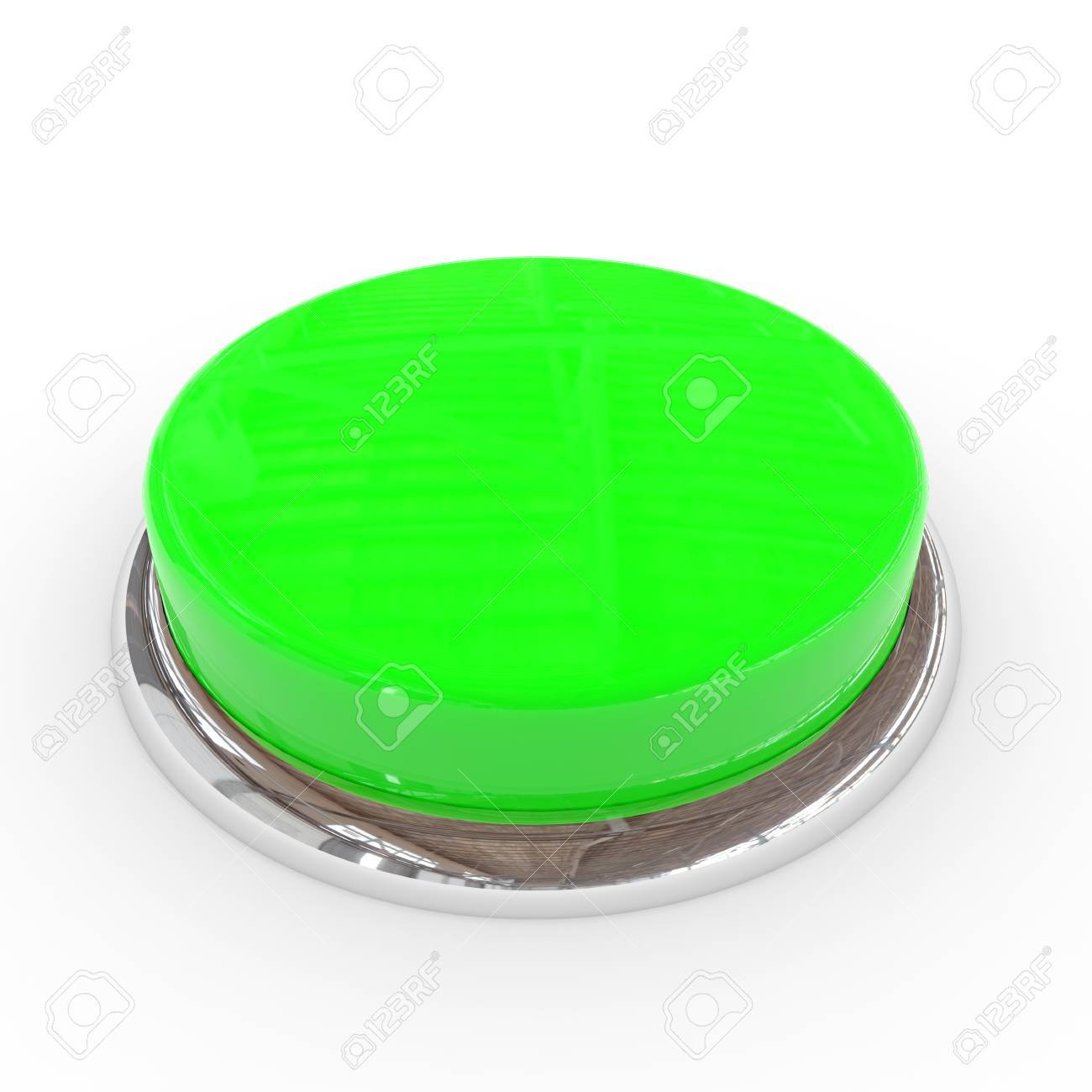 Green round blank 3d button with chrome ring. Computer generated image. Stock Photo - 11818160