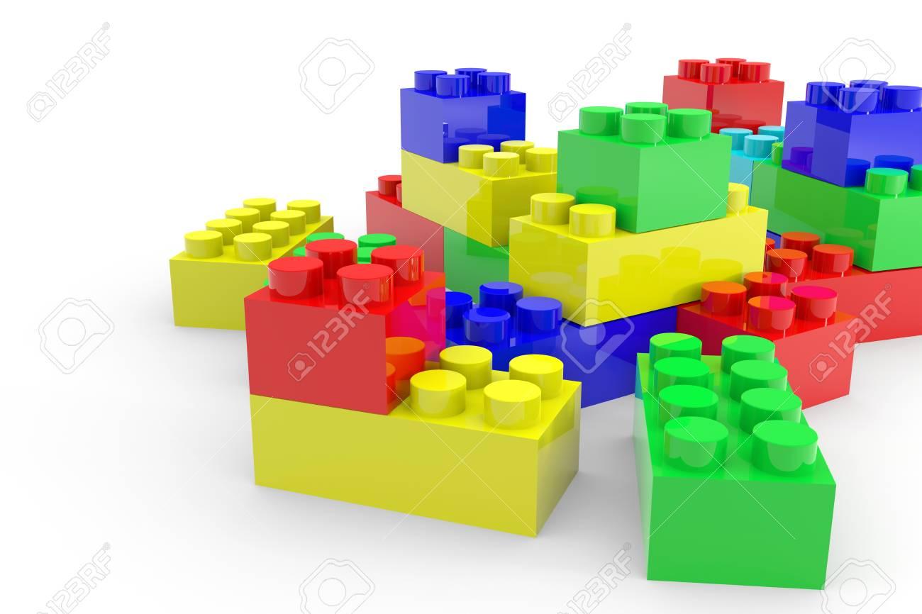 Ongekend Kleur Lego Blokken Speelgoed Geïsoleerd Op Wit. Computer EY-72