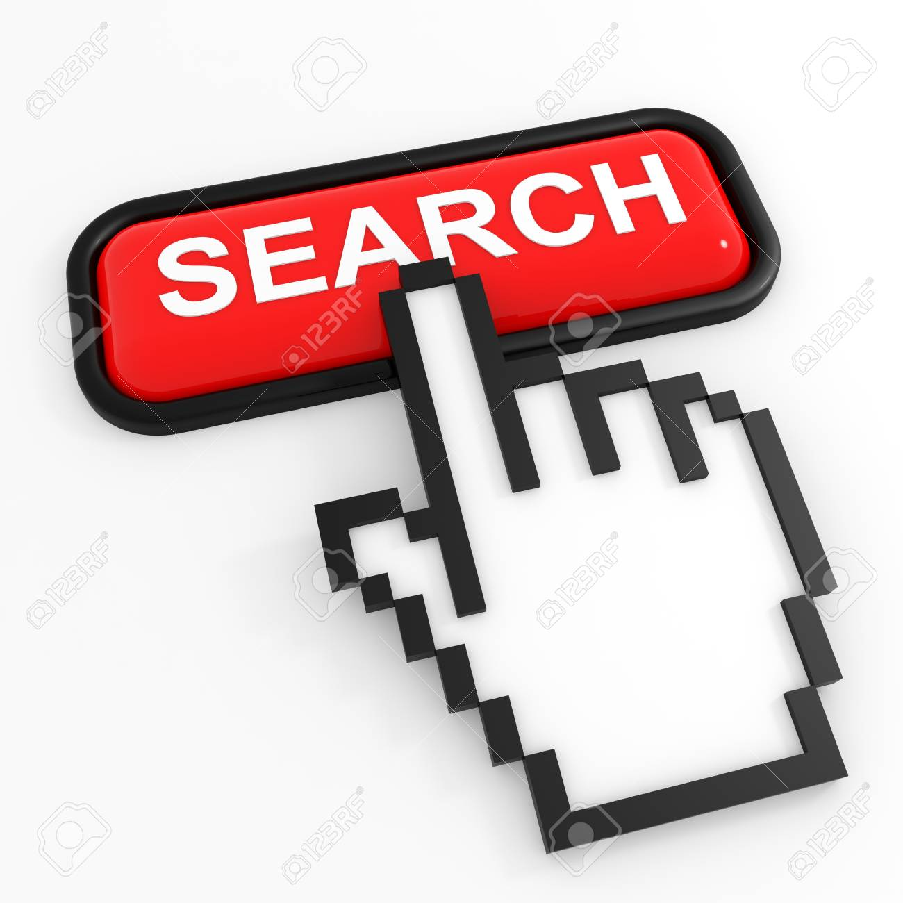 Red button SEARCH with hand cursor. Computer generated image. Stock Photo - 12555430