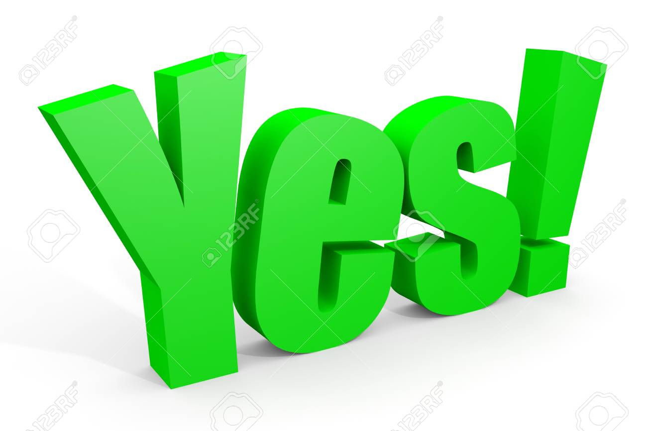 3d YES text with exclamation mark on white. Computer generated image. Stock Photo - 12835061