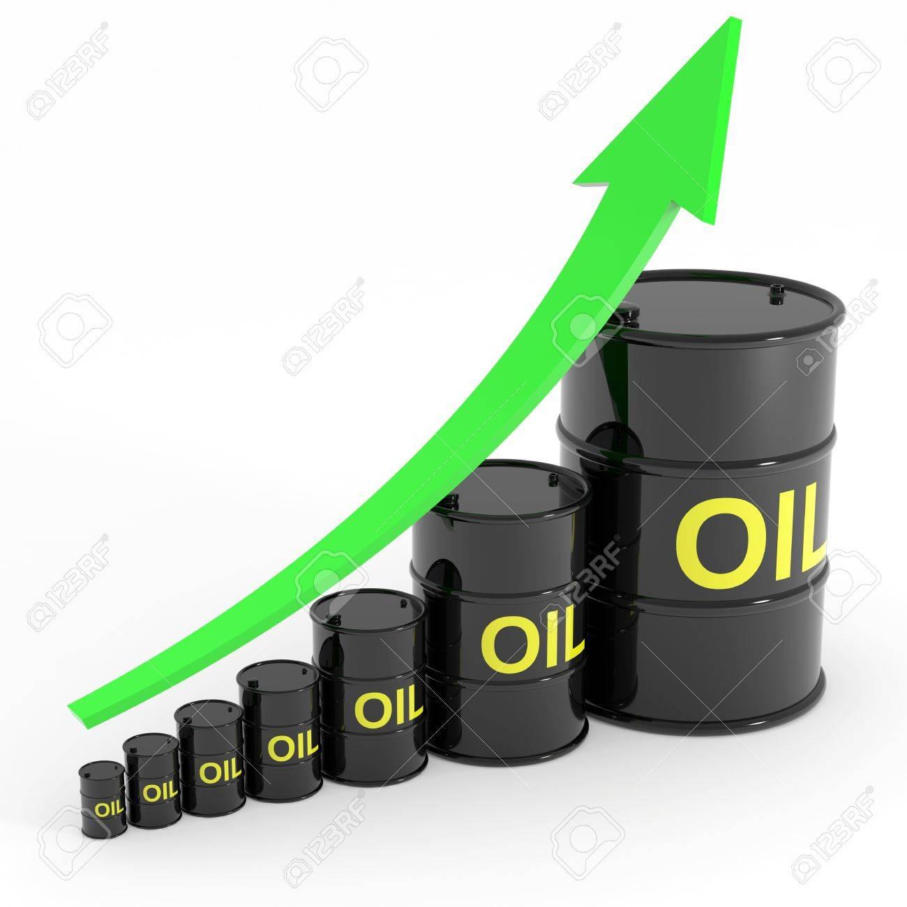 Rising oil barrels graph. Computer generated image. Stock Photo - 12835169