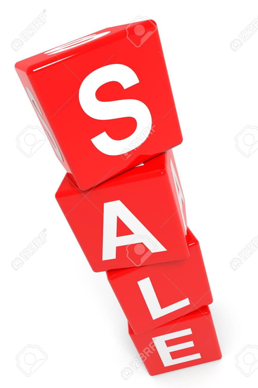 SALE tower of red cubes. Computer generated image. Stock Photo - 12839001