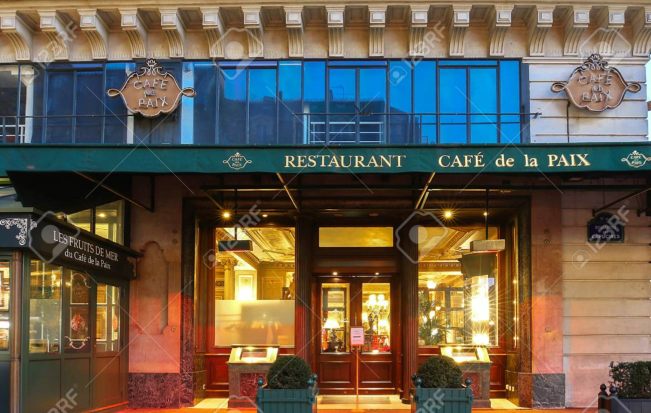 The Famous Cafe Capucines Near Opera House, Paris, France. Stock ...