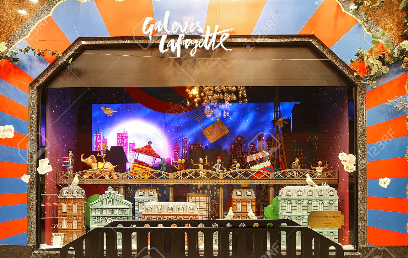 the christmas showcase of galeries lafayette shopping center paris