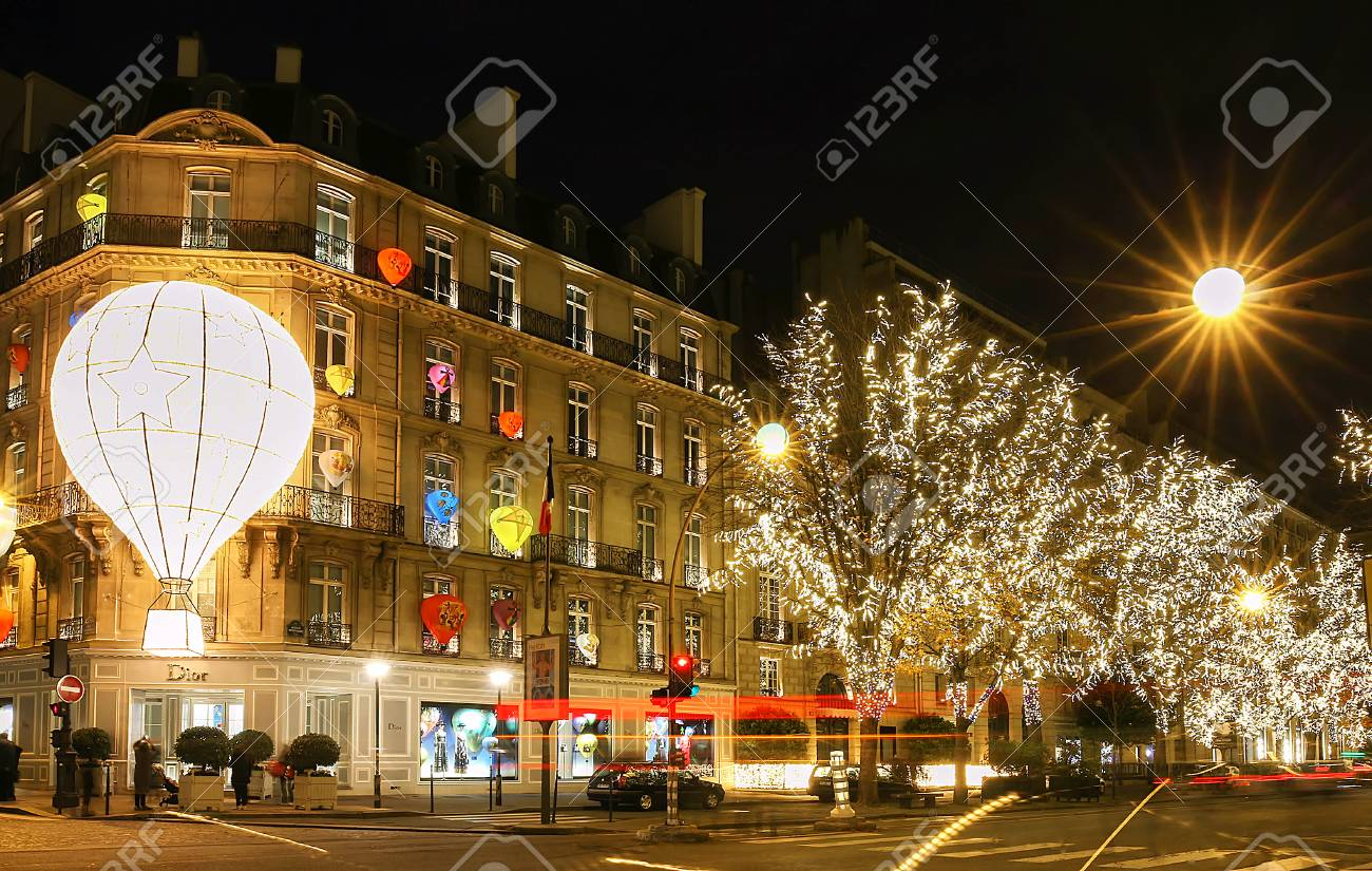 Christmas Paris France.The Boutique Dior Decorated For Christmas Paris France
