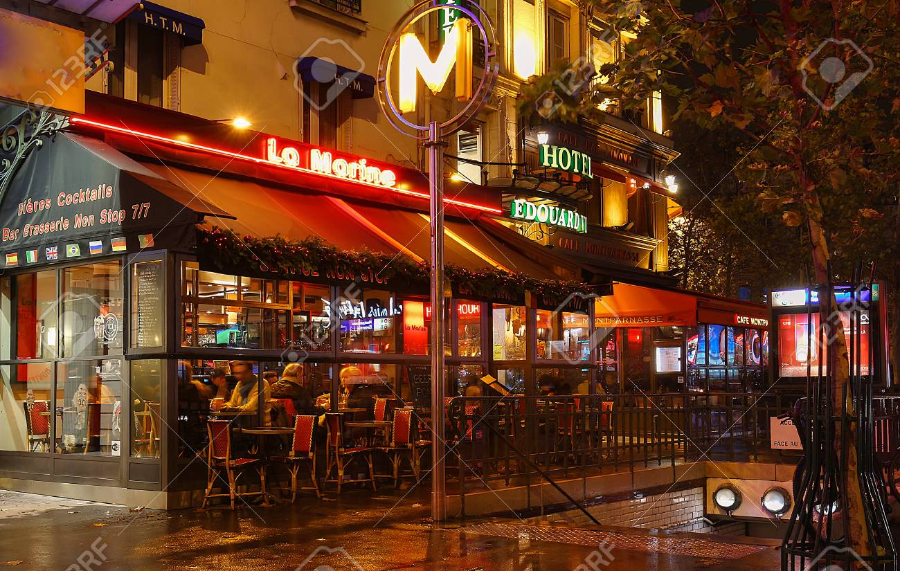 The typical parisian cafe la marine decorated for christmas in