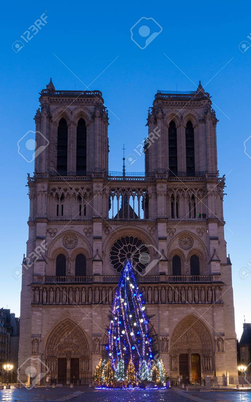 The Notre Dame Cathedral With Christmas Tree - Paris, France Stock ...